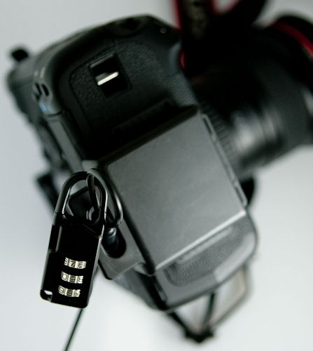 The GearGuard Camera Body Lock attaches to the camera's tripod mount. Photo provided by Gary Fong Inc. Click for a bigger picture!