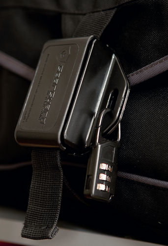 The GearGuard Bag Lock slides together over a camera bag's buckle. Photo provided by Gary Fong Inc. Click for a bigger picture!