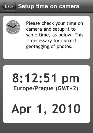 Geotag Photos 1.1 relies on your iPhone and camera clocks being closely matched. Screenshot provided by Sarsoft.