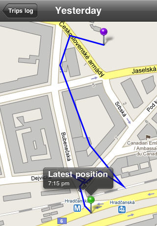 Geotag Photos 1.1 showing a trip path for a walk around Prague. Screenshot provided by Sarsoft.