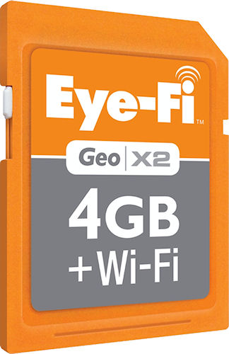 Eye-Fi's Geo X2 wi-fi enabled memory card for Apple Macintosh computers. Photo provided by Eye-Fi Inc. Click for a bigger picture!