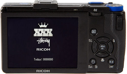 Ricoh's GR Digital III x Stussy edition, rear view. Photo provided by Stussy Inc. Click for a bigger picture!
