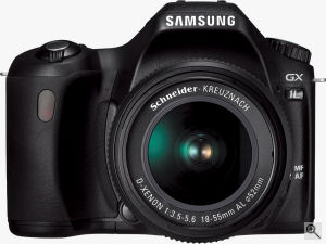 Samsung's GX-1L digital SLR. Courtesy of Samsung, with modifications by Michael R. Tomkins. Click for a bigger picture!