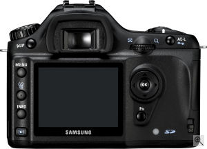 Samsung's GX-1S digital SLR. Courtesy of Samsung, with modifications by Michael R. Tomkins. Click for a bigger picture!