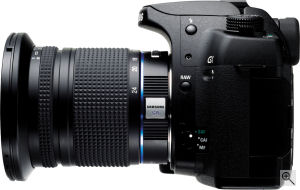 Samsung's GX-10 single-lens reflex digital camera. Courtesy of Samsung, with modifications by Michael R. Tomkins. Click for a bigger picture!
