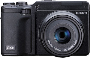 Ricoh's GXR digital camera, shown with optional APS-C sensor / 50mm equiv. lens module attached. Photo provided by Ricoh. Click for a bigger picture!
