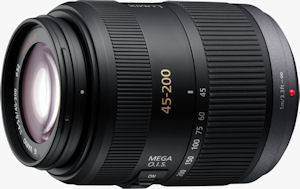 Panasonic's LUMIX G VARIO 45-200mm/F4.0-5.6/MEGA O.I.S. lens. Courtesy of Panasonic, with modifications by Michael R. Tomkins. Click for a bigger picture!