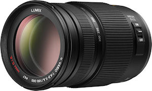 Panasonic's LUMIX G VARIO 100-300mm/F4.0-5.6/MEGA O.I.S. lens. Photo provided by Panasonic Consumer Electronics Co. Click for a bigger picture!