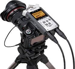 Zoom's H4N Handy Recorder in use. Photo provided by Samson Technologies Corp. Click for a bigger picture!