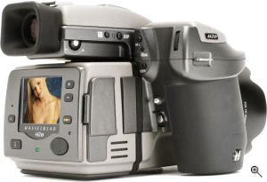Hasselblad's H2D digital camera. Courtesy of Hasselblad, with modifications by Michael R. Tomkins. Click for a bigger picture!
