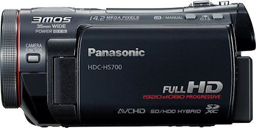 Side view of the HDC-HS700 digital camcorder. Photo provided by Panasonic Consumer Electronics Co. Click for a bigger picture!