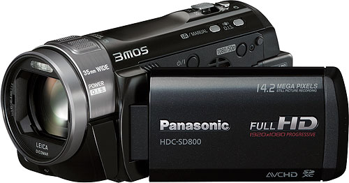 Panasonic's HDC-SD800 camcorder. Photo provided by Panasonic Consumer Electronics Co. Click for a bigger picture!