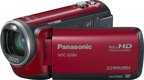 Panasonic's HDC-SD80 camcorder. Photo provided by Panasonic Consumer Electronics Co. Click for a bigger picture!
