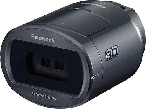 The HDC-SDT750's 3D conversion lens mounts on its Leica Dicomar 12x optical zoom lens. Photo provided by Panasonic Consumer Electronics Co. Click for a bigger picture!