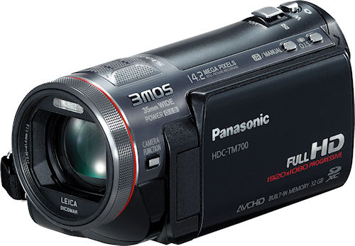 Front quarter view of the HDC-TM700 digital camcorder. Photo provided by Panasonic Consumer Electronics Co. Click for a bigger picture!