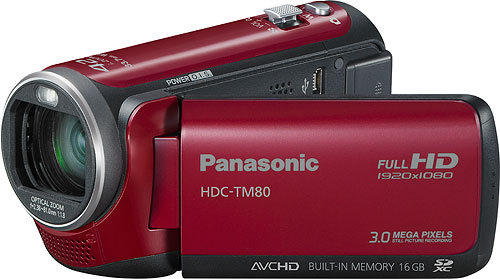 Panasonic's HDC-TM80 camcorder. Photo provided by Panasonic Consumer Electronics Co. Click for a bigger picture!