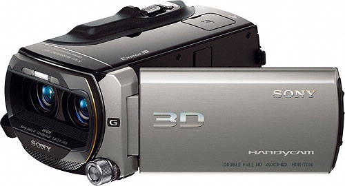 Sony's HDR-T10 3D camcorder. Photo provided by Sony Electronics Inc. Click for a bigger picture!