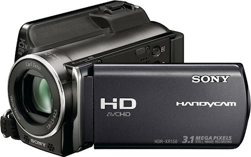 Sony's HDR-XR150 digital camcorder. Photo provided by Sony Electronics Inc. Click for a bigger picture!