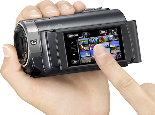 Sony's HDR-XR350V digital camcorder. Photo provided by Sony Electronics Inc. Click for a bigger picture!