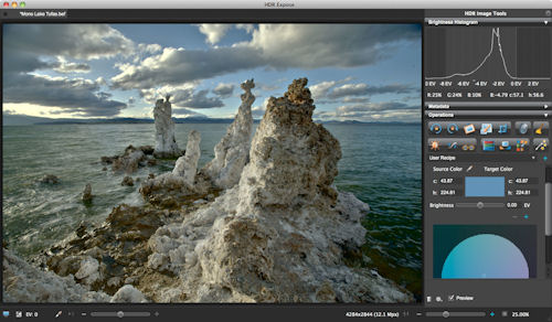 The new user interface in HDR Expose does away with floating palettes and dialog boxes. Screenshot provided by Unified Color Technologies LLC. Click for a bigger picture!