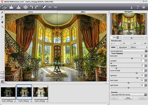 Creating a three-frame HDR image in Akvis HDRFactory v2.0. Screenshot provided by Akvis Lab LLC. Click for a bigger picture!