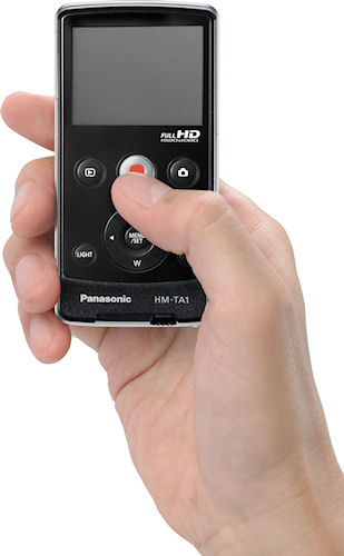 Panasonic's HM-TA1 video camera in use. Photo provided by Panasonic Consumer Electronics Co. Click for a bigger picture!