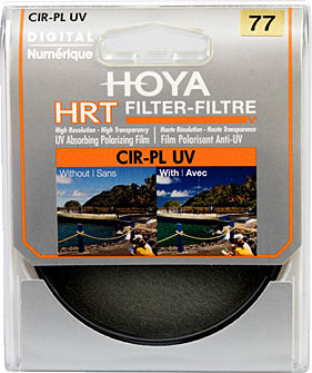 Packaging for the Hoya HRT circular polarizer. Photo provided by THK Photo Product Inc.