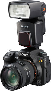 Sony's HVL-F58AM flash strobe mounted on the Alpha α-700 digital SLR. Courtesy of Sony, with modifications by Michael R. Tomkins. Click for a bigger picture!