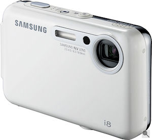Samsung's i8 digital camera. Courtesy of Samsung, with modifications by Michael R. Tomkins. Click for a bigger picture!