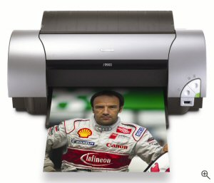 Canon's i9900 Photo Printer. Courtesy of Canon, with modifications by Michael R. Tomkins. Click for a bigger picture!