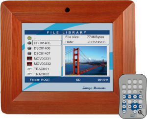 Digital Foci's Image Moments IMT-080 LCD picture frame. Courtesy of Digital Foci, with modifications by Michael R. Tomkins. Click for a bigger picture!