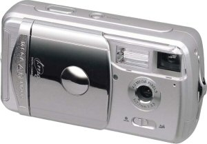 Hitachi's i.mega HDC-401 digital camera. Courtesy of Hitachi, with modifications by Michael R. Tomkins. Click for a bigger picture!