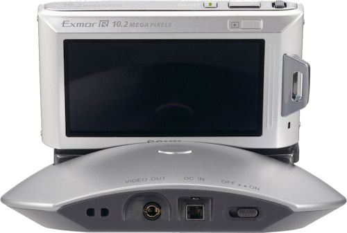 Sony Cyber-shot TX1 digital camera on the Party-shot IPT-DS1 dock. Photo provided by Sony Electronics Inc. Click for a bigger picture!