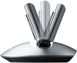 Sony's IPT-DS1 dock is capable of 24-degree vertical tilt. Photo provided by Sony Electronics Inc. Click for a bigger picture!