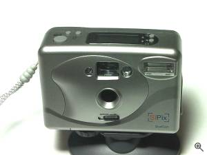 SiPix's iQuest DualCam digital camera / webcam, upper front view in closeup. Copyright (c) 2001, Michael R. Tomkins, all rights reserved. Click for a bigger picture!