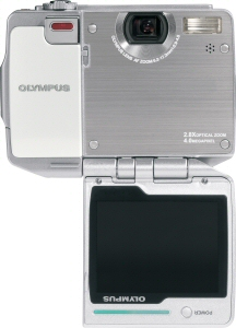 Olympus' i:robe IR-500 digital camera. Courtesy of Olympus, with modifications by Michael R. Tomkins. Click for a bigger picture!
