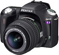 Pentax's *ist DL2 digital SLR. Courtesy of Pentax, with modifications by Michael R. Tomkins.