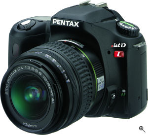 Pentax's *ist DL digital SLR. Courtesy of Pentax, with modifications by Michael R. Tomkins. Click for a bigger picture!