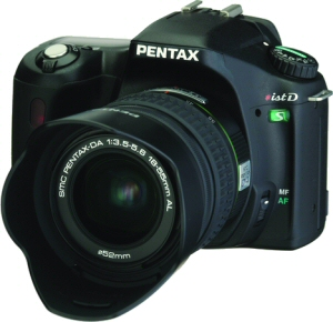 Pentax's *ist DS digital SLR. Courtesy of Pentax, with modifications by Michael R. Tomkins. Click for a bigger picture!