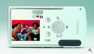 Canon's Digital IXUS i digital camera. Courtesy of Canon, with modifications by Michael R. Tomkins. Click for a bigger picture!