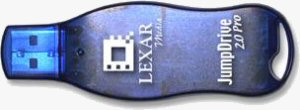Lexar's Jumpdrive 2.0 USB flash drive. Courtesy of Lexar, with modifications by Michael R. Tomkins.