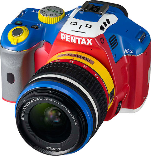 The Pentax K-x Korejanai Robot Model kit, showing off the 'face' markings. Photo provided by Hoya Corp. Click for a bigger picture!