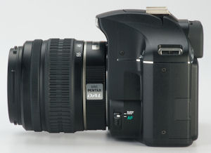 Pentax's K2000 digital SLR. Courtesy of Pentax, with modifications by Michael R. Tomkins. Click for a bigger picture!