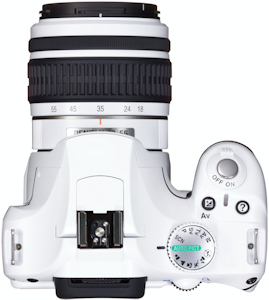 Pentax's limited edition white K2000 digital SLR, top view. Photo provided by Pentax Imaging Co.  Click for a bigger picture!