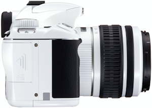 Pentax's limited edition white K2000 digital SLR, right view. Photo provided by Pentax Imaging Co.  Click for a bigger picture!