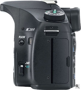 Pentax's K200D digital SLR. Courtesy of Pentax, with modifications by Michael R. Tomkins. Click for a bigger picture!