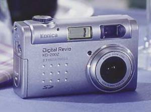 Konica's Digital  Revio KD-200Z digital camera, front view. Courtesy of Konica.