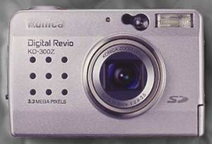 Konica's Digital  Revio KD-300Z digital camera, front view. Courtesy of Konica.