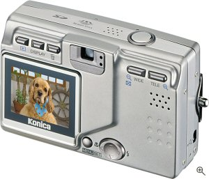 Konica's KD-510Z digital camera. Courtesy of Konica, with modifications by Michael R. Tomkins. Click for a bigger picture!