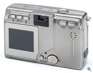 Konica's KD-400Z digital camera, front view. Courtesy of Konica Photo Imaging Inc., with modifications by Michael R. Tomkins. Click for a bigger picture!